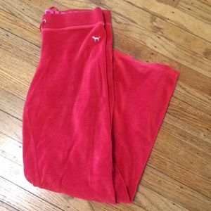 Pink By VS Lounge Velour Drawstring Pants Size S